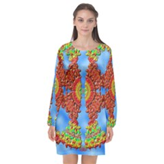 Pictures Digital Art Abstract Long Sleeve Chiffon Shift Dress