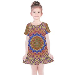 Tile Background Image Ornament Kids  Simple Cotton Dress