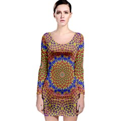 Tile Background Image Ornament Long Sleeve Bodycon Dress