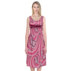 Pattern Doodle Design Drawing Midi Sleeveless Dress
