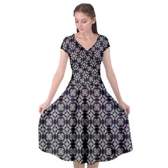 Ornaments  Kaleidoscope Pattern Cap Sleeve Wrap Front Dress