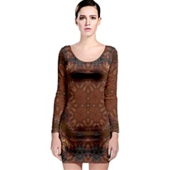 Background Image Structure Brown Black Long Sleeve Bodycon Dress