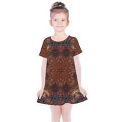 Background Image Structure Brown Black Kids  Simple Cotton Dress by Pakrebo