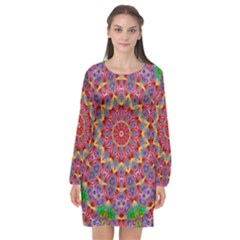 Background Image Decorative Long Sleeve Chiffon Shift Dress  by Pakrebo