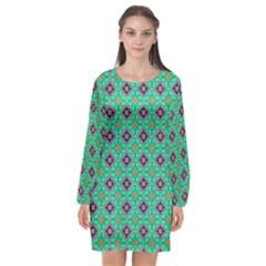 Background Image Structure Long Sleeve Chiffon Shift Dress  by Pakrebo