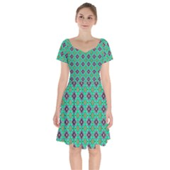 Background Image Structure Short Sleeve Bardot Dress
