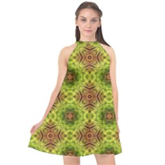 Tile Background Image Pattern Green Halter Neckline Chiffon Dress  by Pakrebo