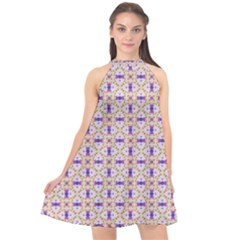 Background Image Tile Geometric Halter Neckline Chiffon Dress