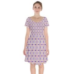 Background Image Tile Geometric Short Sleeve Bardot Dress