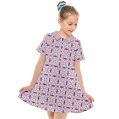 Background Image Tile Geometric Kids  Short Sleeve Shirt Dress by Pakrebo