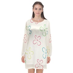 Flower Background Nature Floral Long Sleeve Chiffon Shift Dress  by Mariart