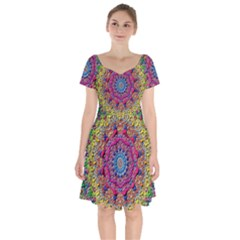 Background Fractals Surreal Design 3d Short Sleeve Bardot Dress