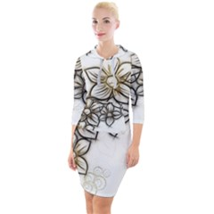 Curlicue Kringel Flowers Background Quarter Sleeve Hood Bodycon Dress