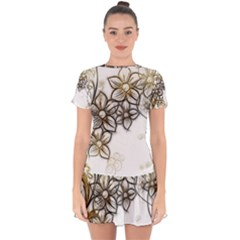 Curlicue Kringel Flowers Background Drop Hem Mini Chiffon Dress by AnjaniArt