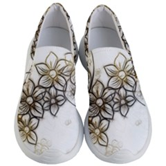 Curlicue Kringel Flowers Background Women s Lightweight Slip Ons