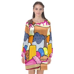Sweet Dessert Food Muffin Cake Long Sleeve Chiffon Shift Dress