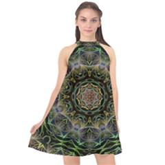Fractal  Background Graphic Halter Neckline Chiffon Dress
