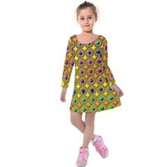 Background  Kaleidoscope Kids  Long Sleeve Velvet Dress by Pakrebo