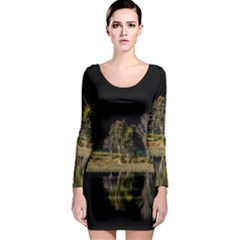 Soi Ball Symmetry Scenery Reflect Long Sleeve Bodycon Dress