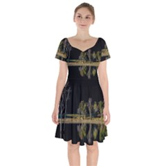 Soi Ball Symmetry Scenery Reflect Short Sleeve Bardot Dress