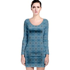 Background Image Pattern Long Sleeve Bodycon Dress