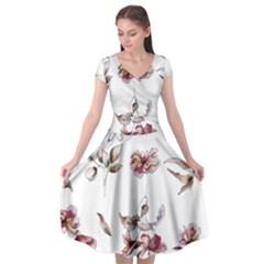 Purple Flowers Bring Cold Showers Cap Sleeve Wrap Front Dress