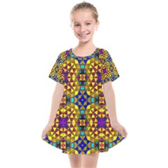 Tile Background Image Graphic Abstract Kids  Smock Dress by Pakrebo