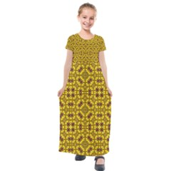 Tile Background Image Graphic Yellow Kids  Short Sleeve Maxi Dress by Pakrebo