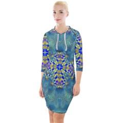 Tile Background Image Graphic Quarter Sleeve Hood Bodycon Dress