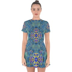 Tile Background Image Graphic Drop Hem Mini Chiffon Dress by Pakrebo