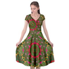 Background Image Pattern Cap Sleeve Wrap Front Dress by Pakrebo