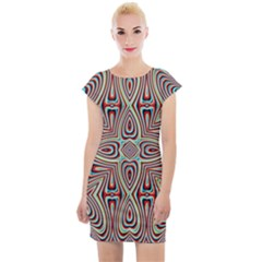 Background Image Color Colorful Cap Sleeve Bodycon Dress