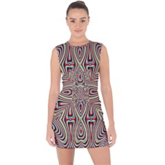 Background Image Color Colorful Lace Up Front Bodycon Dress by Pakrebo