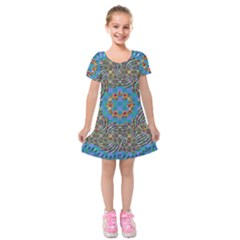 Tile Pattern Background Image Kids  Short Sleeve Velvet Dress by Pakrebo