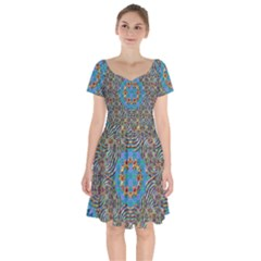 Tile Pattern Background Image Short Sleeve Bardot Dress