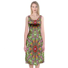 Fractal Image  Background Midi Sleeveless Dress