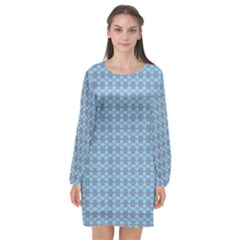 Kaleidoscope Colorful Units Surreal Long Sleeve Chiffon Shift Dress