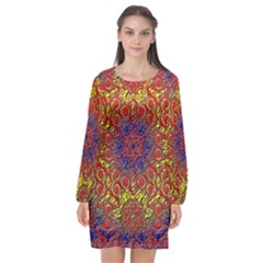 Background Image  Wall Design Long Sleeve Chiffon Shift Dress