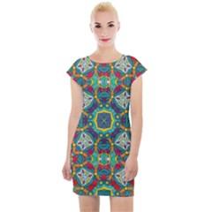 Farbenpracht Kaleidoscope Art Cap Sleeve Bodycon Dress