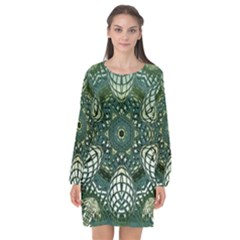 Background Image Decoration Long Sleeve Chiffon Shift Dress