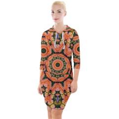Background Pattern Structure Art Quarter Sleeve Hood Bodycon Dress by Pakrebo