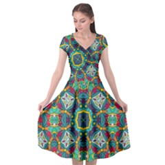 Farbenpracht Kaleidoscope Art Cap Sleeve Wrap Front Dress by Pakrebo