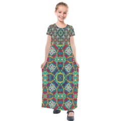 Farbenpracht Kaleidoscope Art Kids  Short Sleeve Maxi Dress by Pakrebo