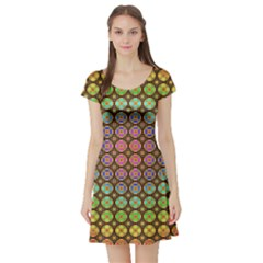Tile Background Image Pattern Art Short Sleeve Skater Dress