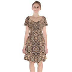Pattern  Background Short Sleeve Bardot Dress by Pakrebo