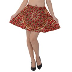 Tile Background Image Pattern 3d Red Velvet Skater Skirt by Pakrebo