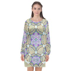 Ornament Kaleidoscope Long Sleeve Chiffon Shift Dress
