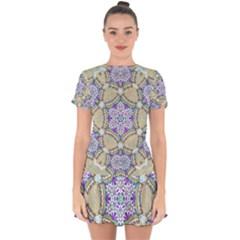 Ornament Kaleidoscope Drop Hem Mini Chiffon Dress
