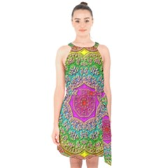 Mandala  Background Geometric Halter Collar Waist Tie Chiffon Dress by Pakrebo