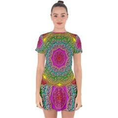 Mandala  Background Geometric Drop Hem Mini Chiffon Dress by Pakrebo